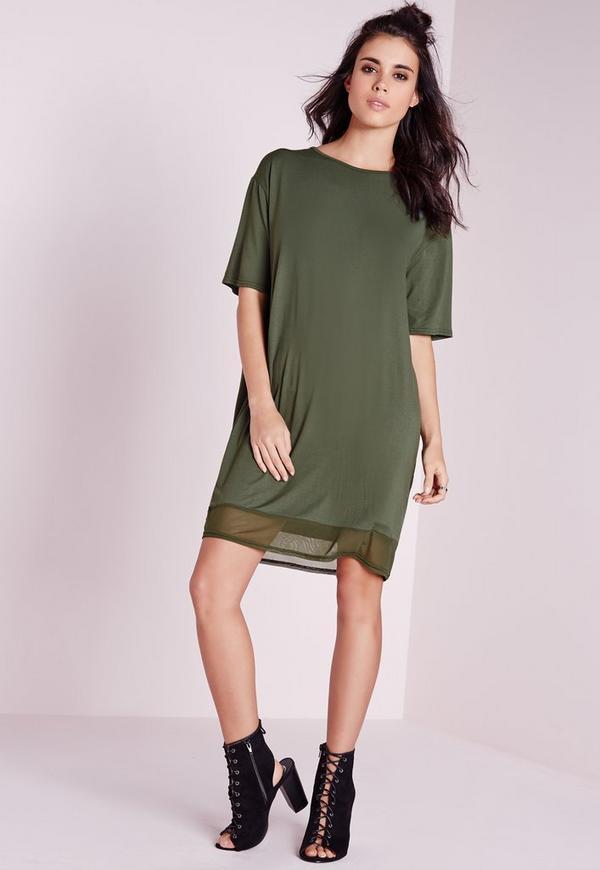 Cut Out Back T-Shirt Dress Khaki
