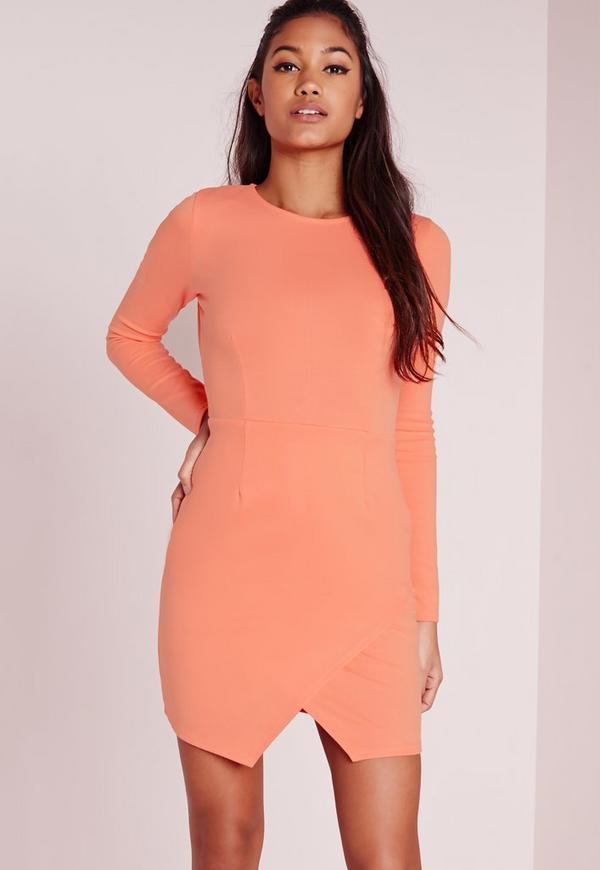 Long Sleeve Wrap Hem Bodycon Dress Pink