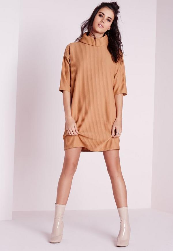Roll Neck Ribbed Jumper Dress Camel