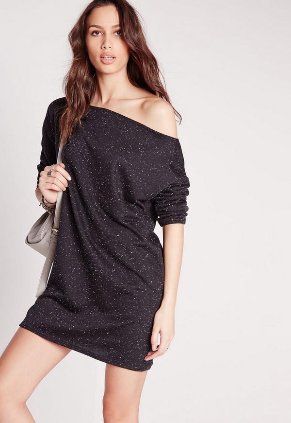 Long Sleeve Speckled Jumper Dress Dark Grey