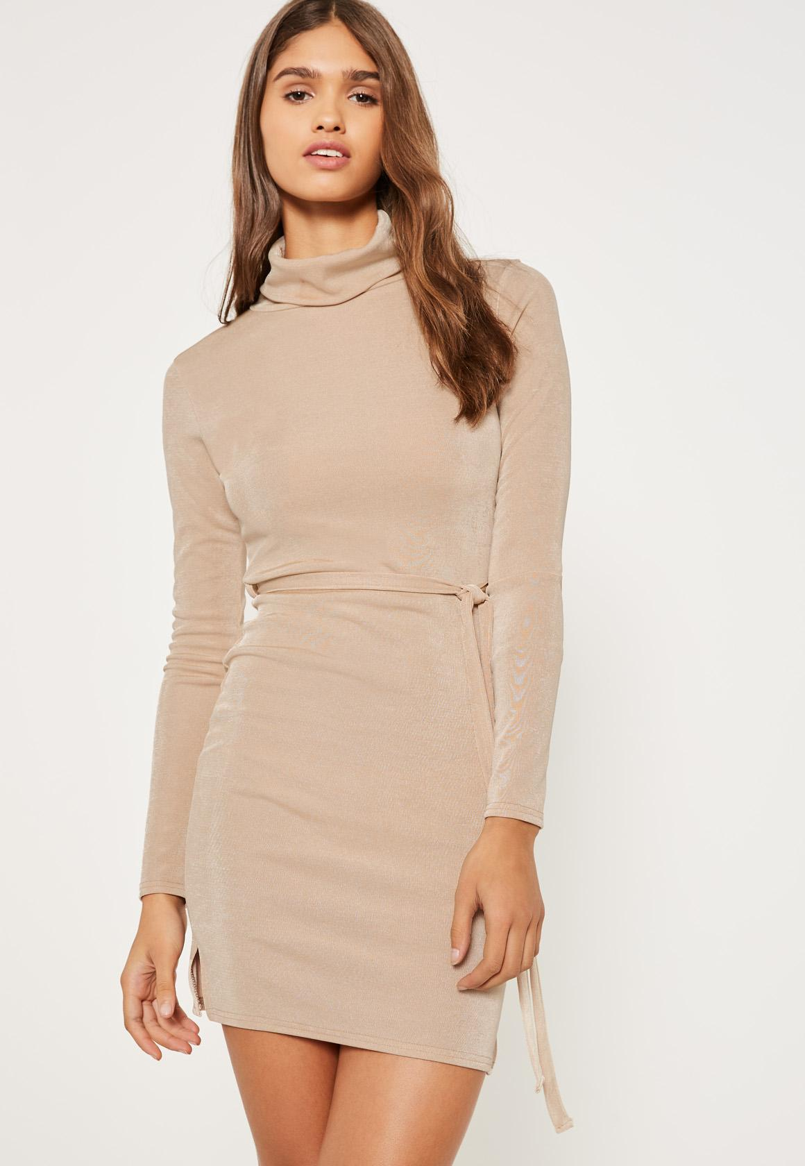 Sand roll neck slinky tie waist dress
