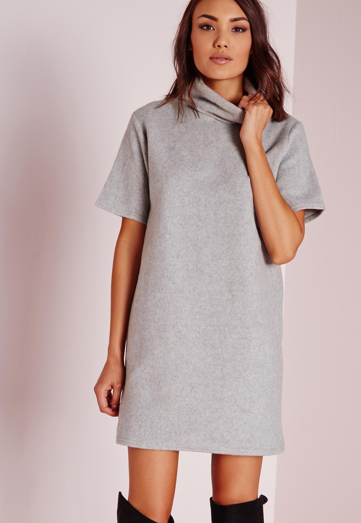 ... Roll Neck Short Sleeve Fleecy Jumper Dress Grey. Previous Next 74be4db6f