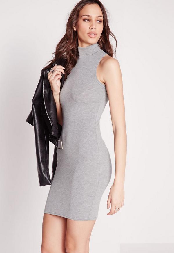 Jersey Roll Neck Bodycon Dress Grey