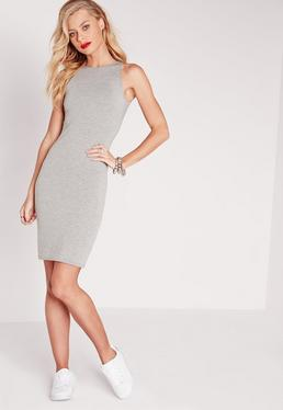 Jersey Racer Bodycon Dress Grey