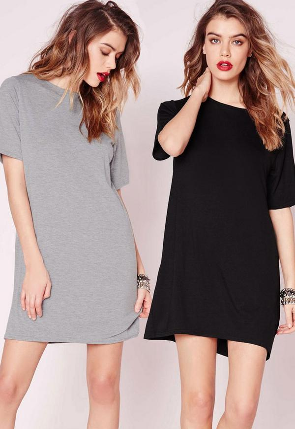 2 Pack Jersey T-Shirt Dress Grey/Black