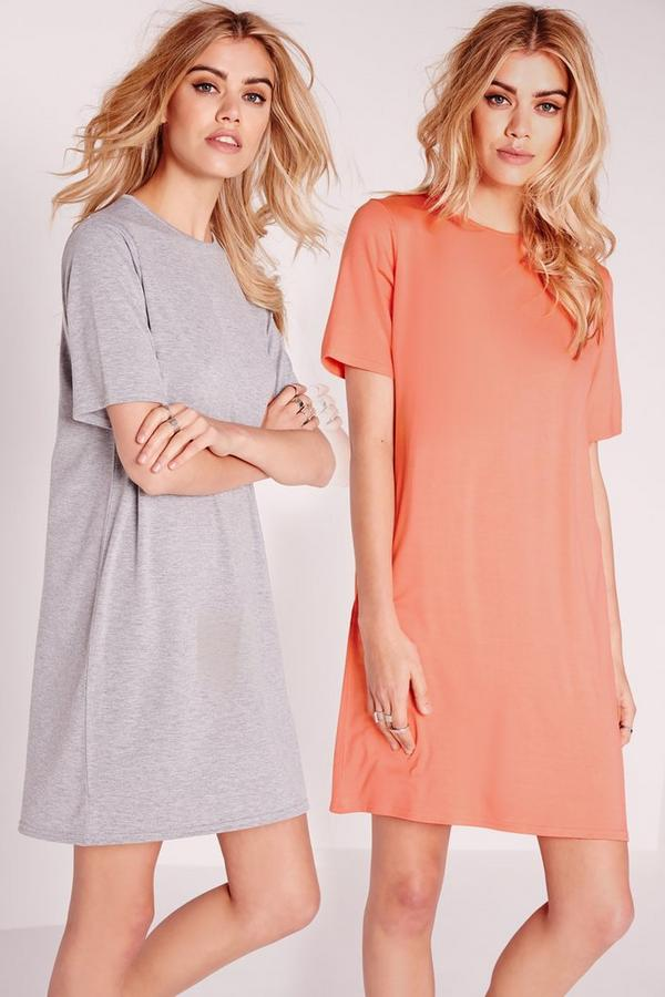 2 Pack Jersey T-Shirt Dress Pink/Grey