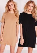 2 Pack Jersey T-Shirt Dress Camel/Black