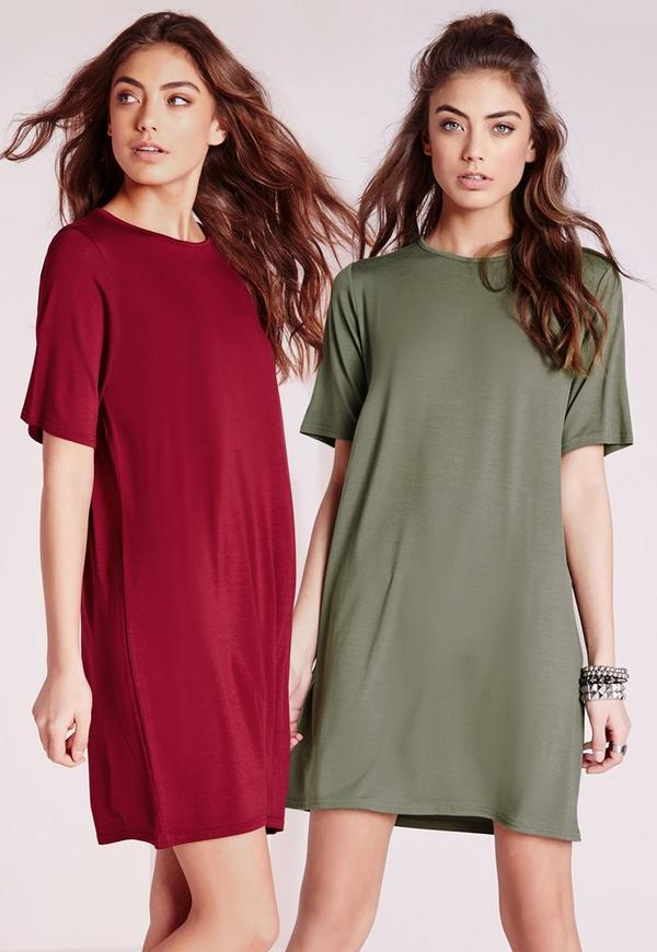 2 Pack Jersey T-Shirt Dress Oxblood/Khaki
