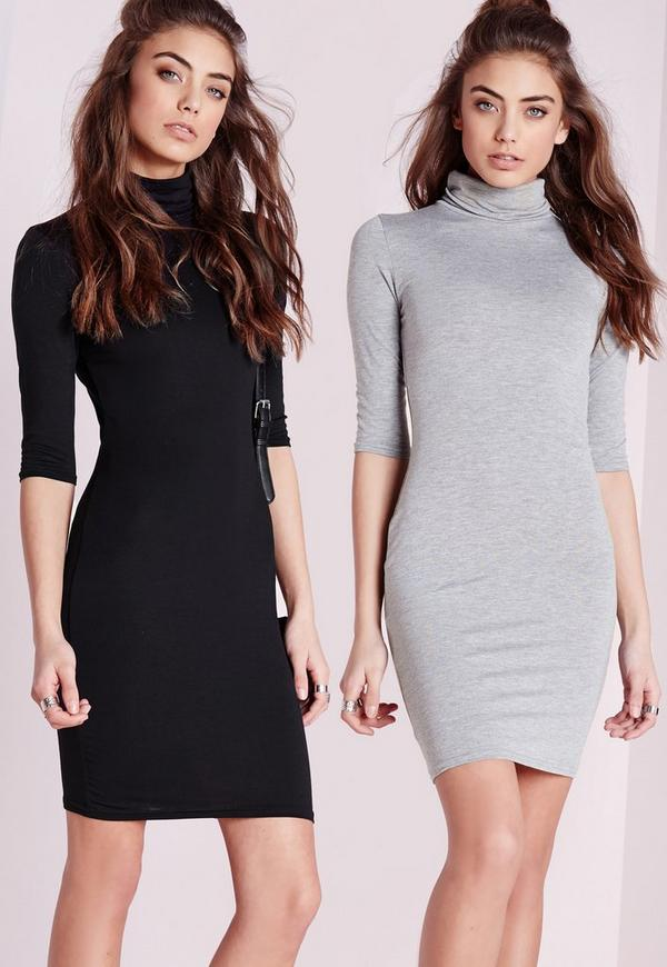 2 Pack Jersey Roll Neck Bodycon Dress Grey/Black