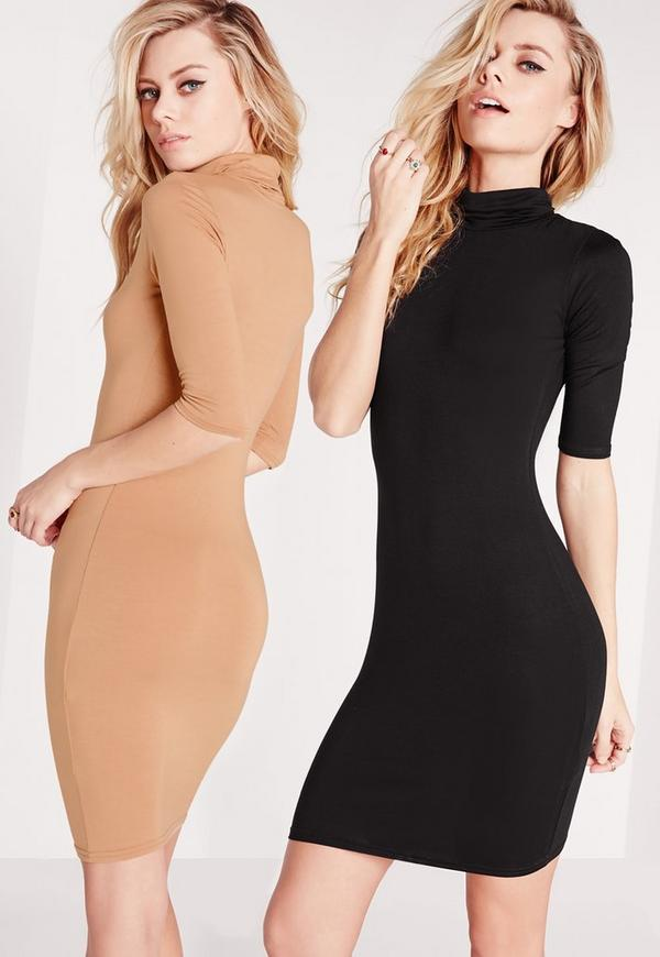 2 Pack Jersey Roll Neck Bodycon Dress Camel/Black
