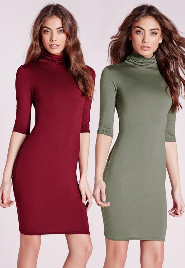 2 Pack Jersey Roll Neck Bodycon Dress Oxblood/Khaki