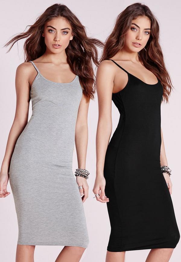 2 Pack Jersey Strappy Midi Dress Grey/Black