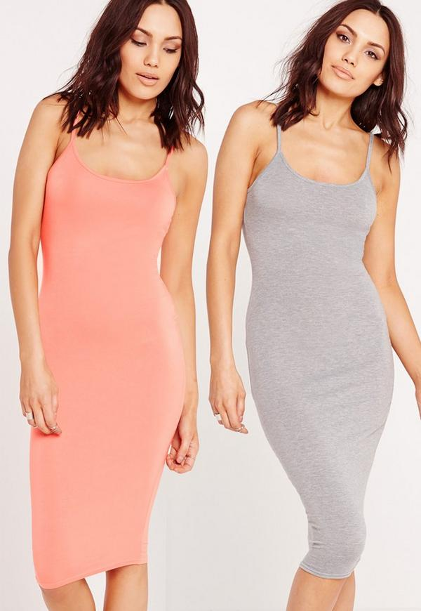 2 Pack Jersey Strappy Midi Dress Salmon/Grey