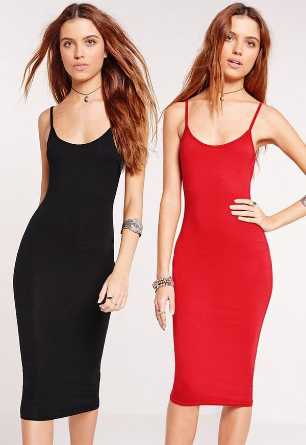 2 Pack Jersey Strappy Midi Dress Red/Black