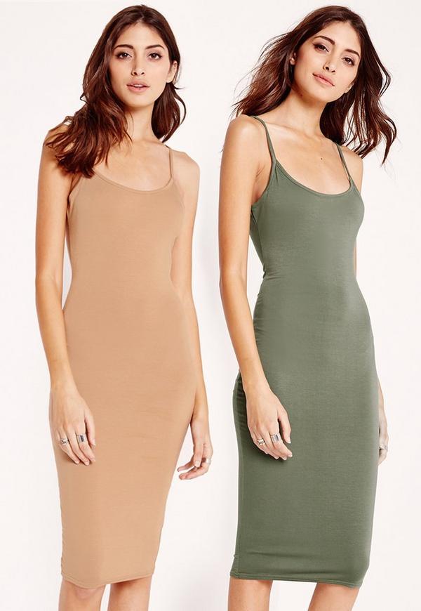 2 Pack Jersey Strappy Midi Dress Camel/Khaki
