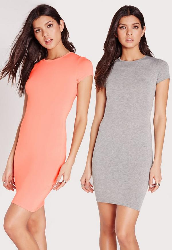 2 Pack Jersey Short Sleeve Bodycon Dress Pink/Grey