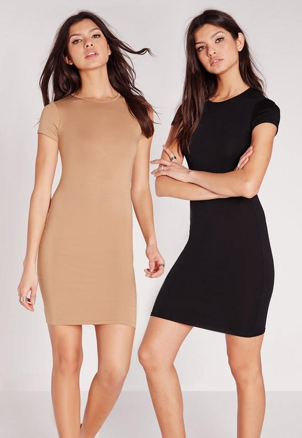 2 Pack Jersey Short Sleeve Bodycon Dress Camel/Black
