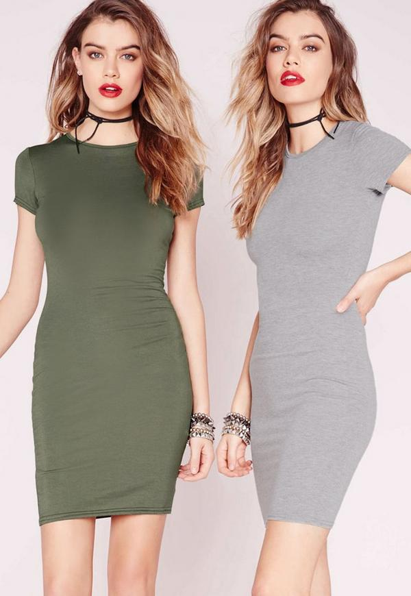 2 Pack Jersey Short Sleeve Bodycon Dress Grey/Khaki