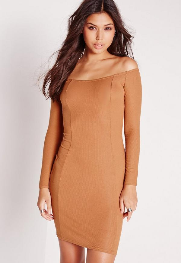 Ribbed Jersey Long Sleeve Bardot Bodycon Dress Chestnut