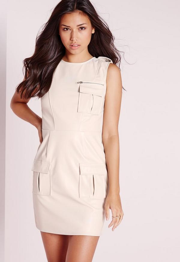 Sleeveless Faux Leather Pocket Front Bodycon Dress Ivory
