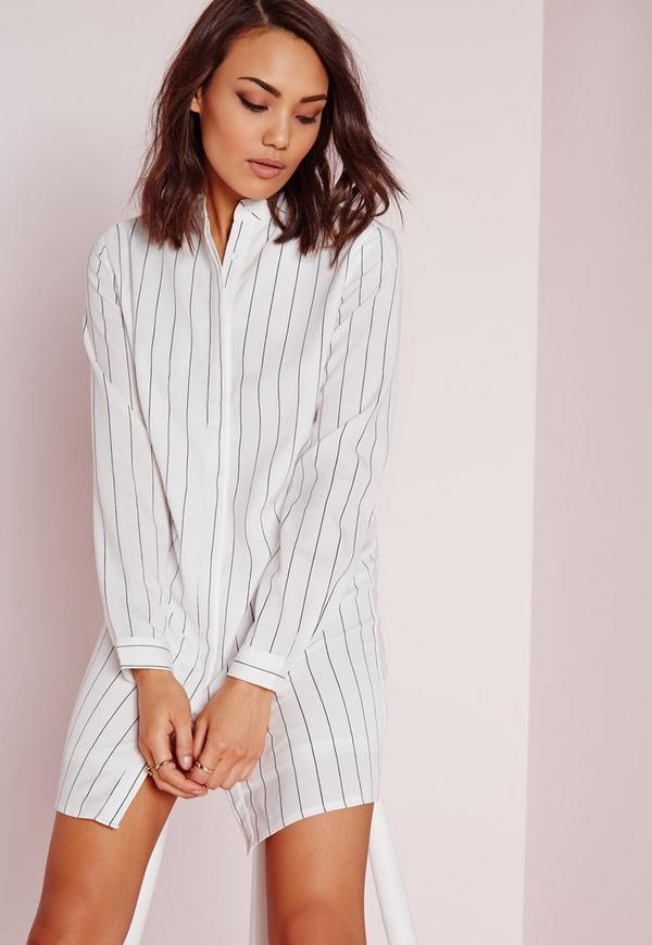 Collarless Pinstripe Shirt Dress White