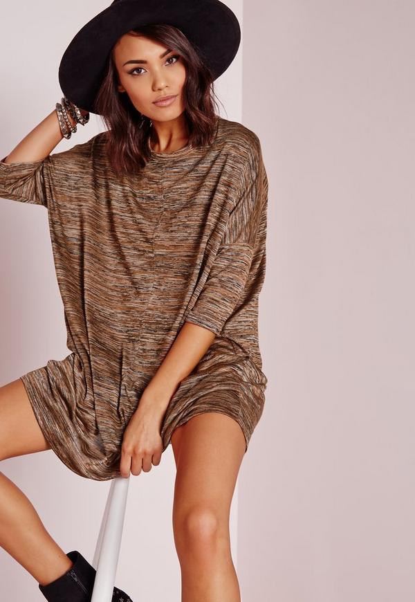 Oversized Slouchy T-Shirt Dress Camel Marl