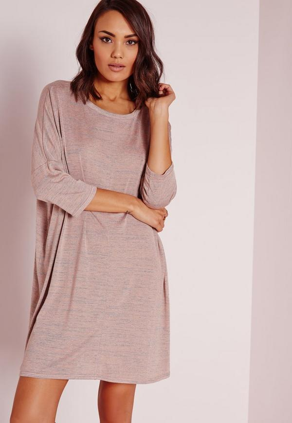 Oversized Slouchy T-Shirt Dress Nude Marl