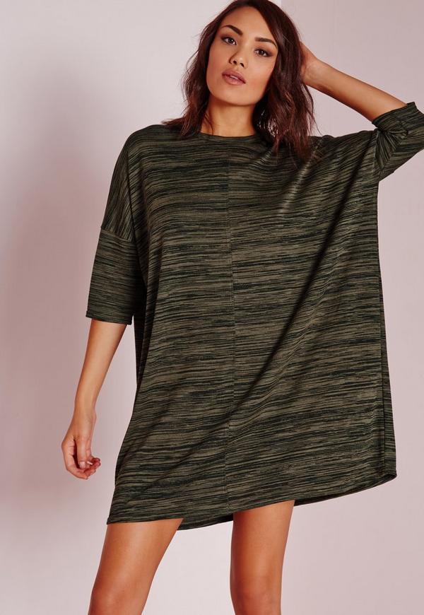 Oversized Slouchy T-Shirt Dress Khaki Marl