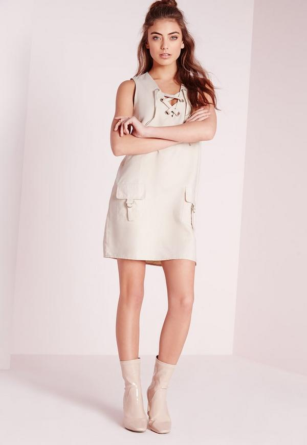 Faux Suede Lace Up Shift Dress Ivory