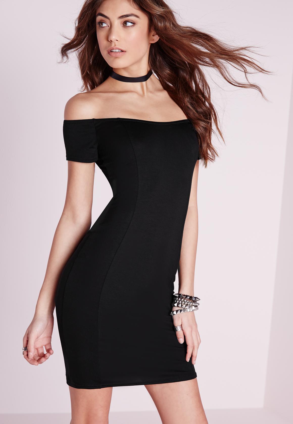 Black dress jersey - Jersey Bardot Bodycon Dress Black