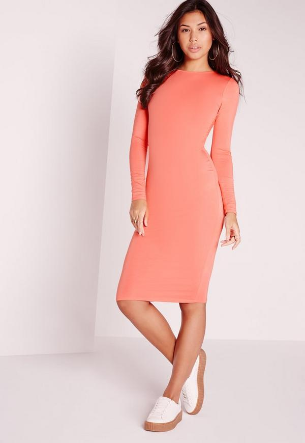 Jersey Bodycon Midi Dress Orange