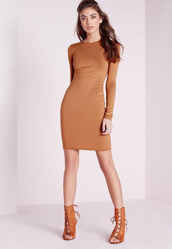 Jersey Bodycon Mini Dress Tan