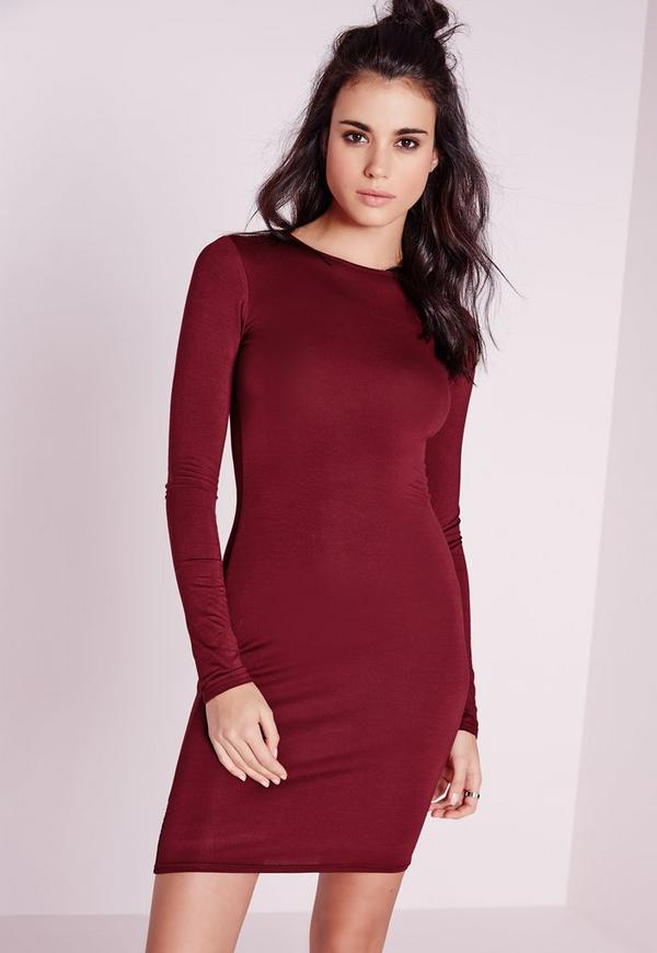 Jersey Bodycon Mini Dress Burgundy