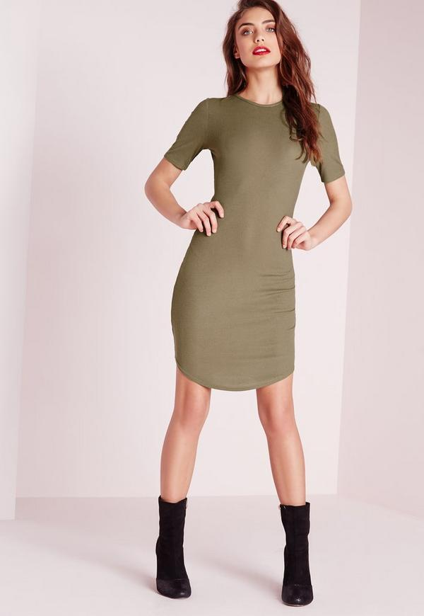 Ribbed Jersey Curve Hem Bodycon Dress Khaki