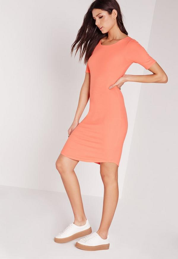 Ribbed Jersey Curve Hem Bodycon Dress Orange