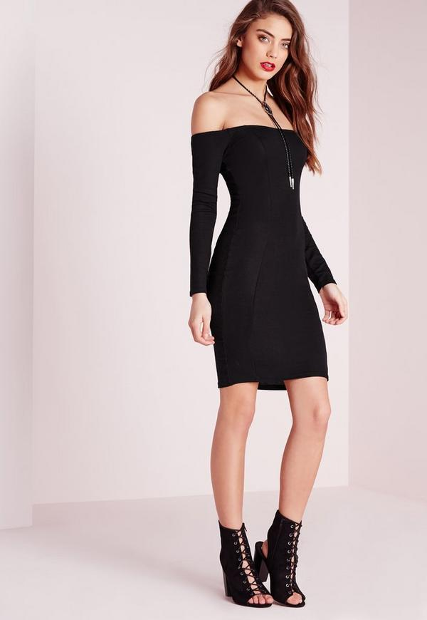 Ribbed Jersey Long Sleeve Bardot Bodycon Dress Black