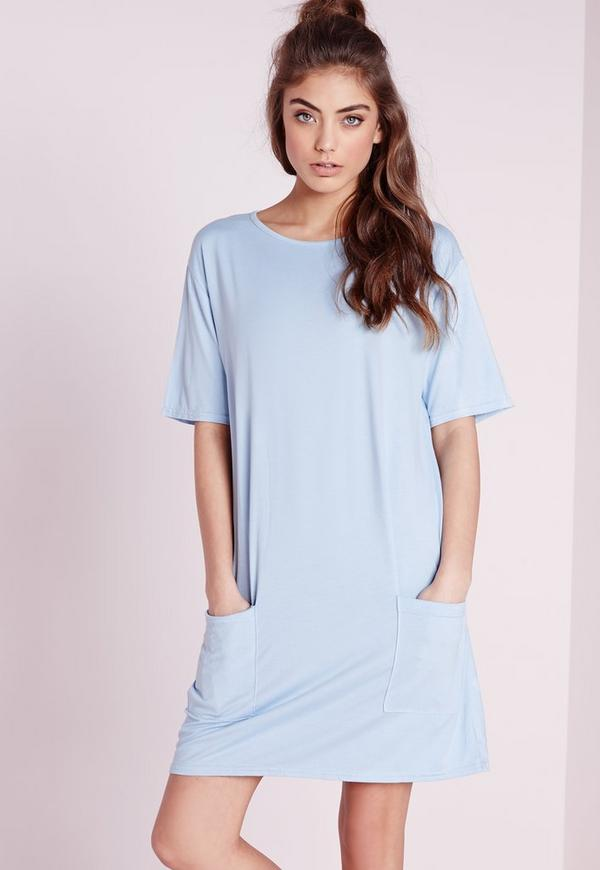 Jersey Pocket Front T-Shirt Dress Powder Blue
