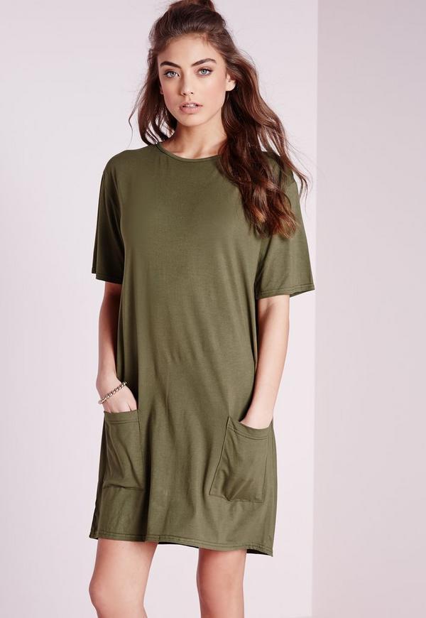 Jersey Pocket Front T-Shirt Dress Khaki