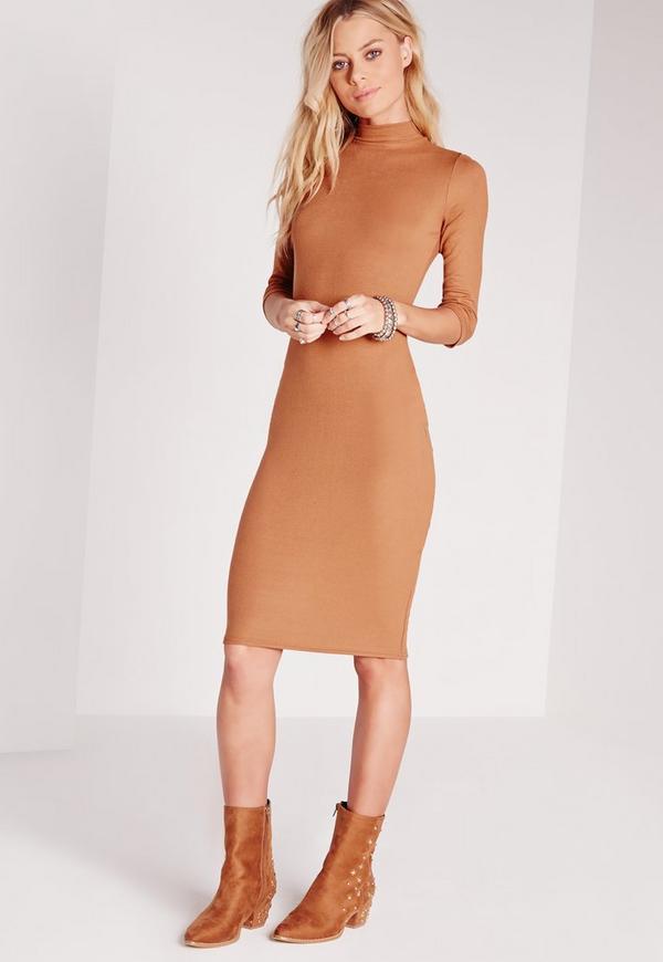 Ribbed Jersey Roll Neck Midi Dress Tan