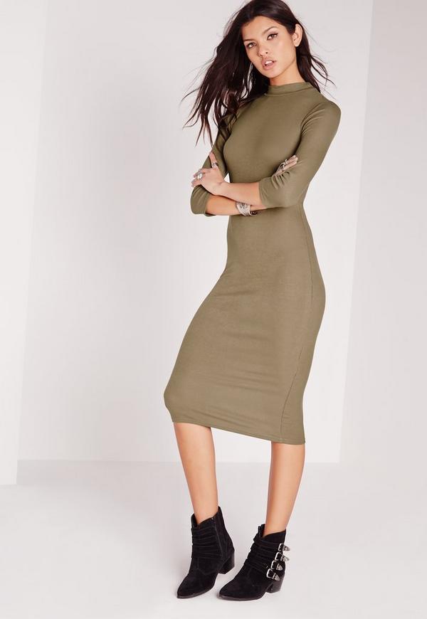 Ribbed Jersey Roll Neck Midi Dress Khaki