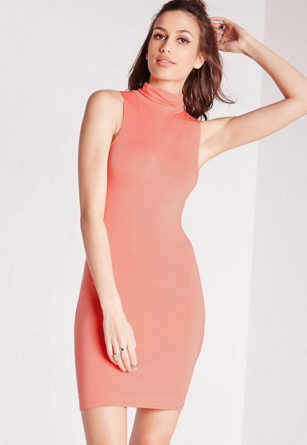 Jersey Roll Neck Bodycon Dress Pink