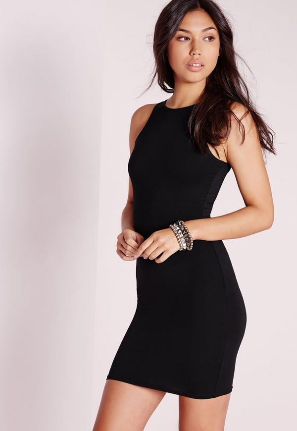 Jersey Bodycon Racer Dress Black