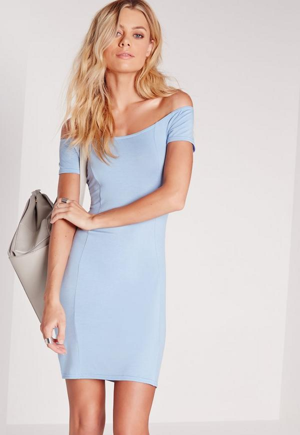 Jersey Bardot Bodycon Dress Blue