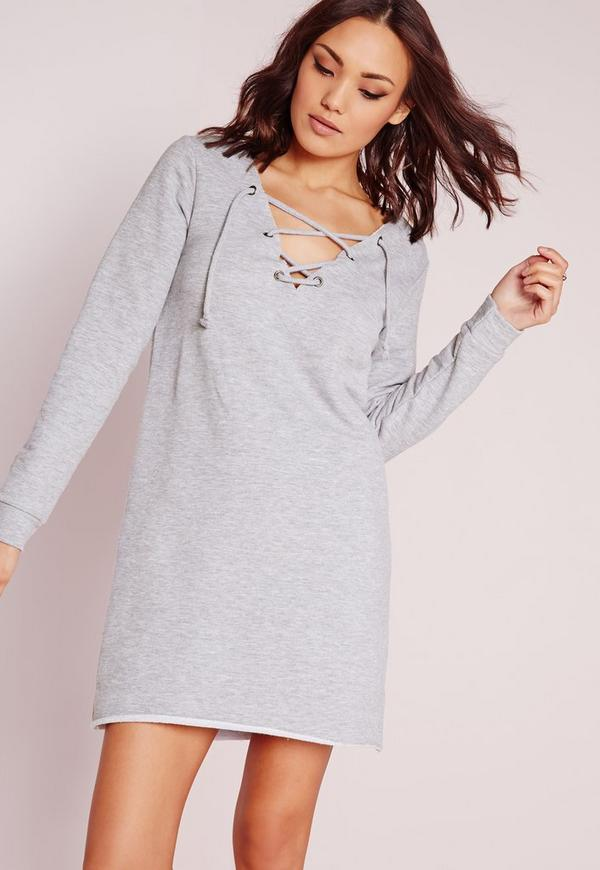 Lace Up Front Sweater Dress Grey Marl