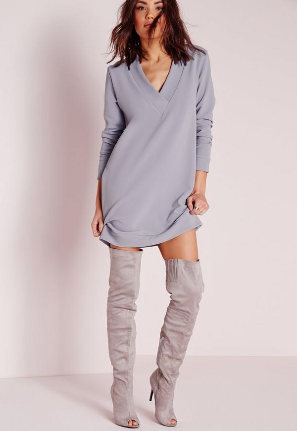 V-Neck Long Sleeve Heavy Rib Jumper Dress Grey
