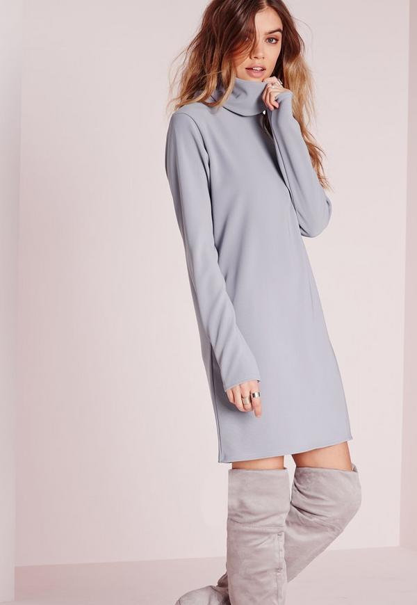 Long Sleeve Roll Neck Oversized Dress Powder Blue