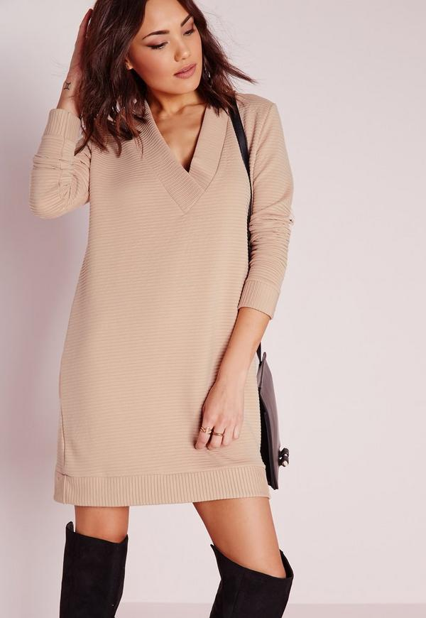 V-Neck Long Sleeve Heavy Rib Jumper Dress Nude