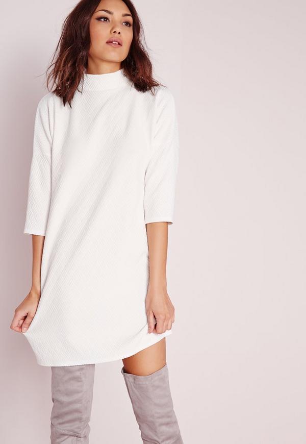High Neck Oversized Textured Dress White