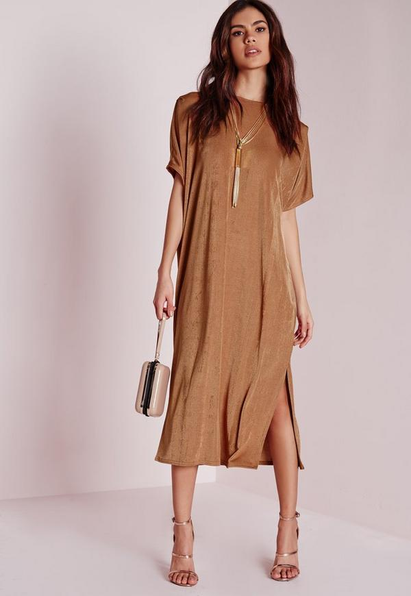 Oversized Midi T-Shirt Dress Bronze