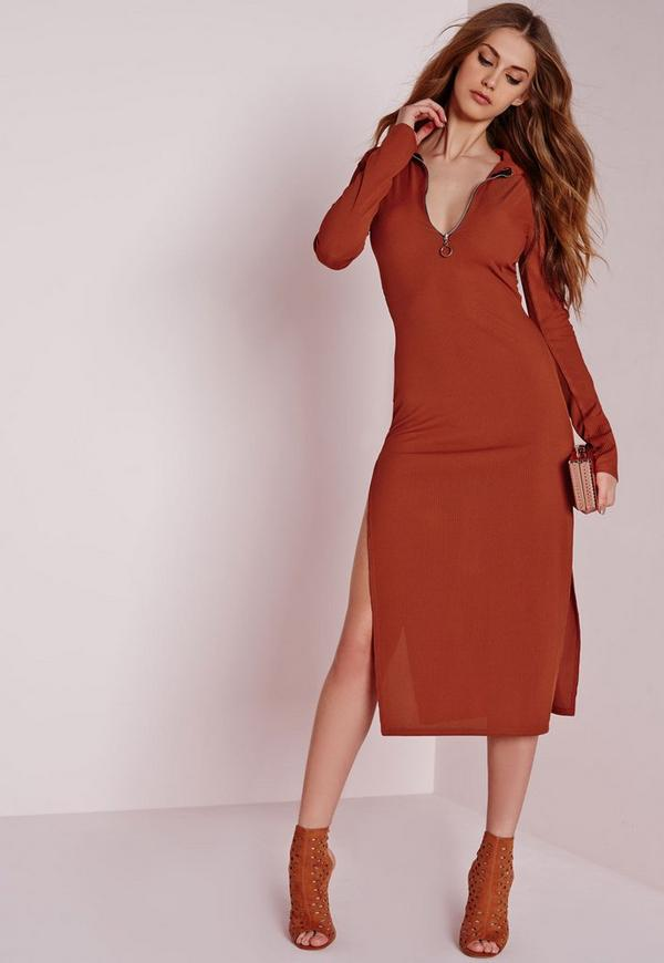 Zip Front Collar Rib Midi Dress Rust
